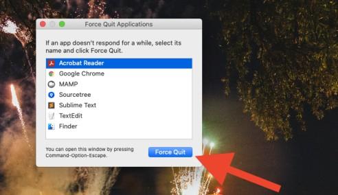 force quit app in macOS
