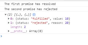 Using Promise.allSettled method